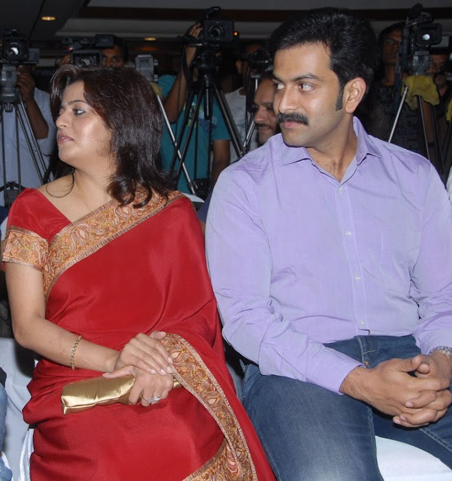 Prithviraj Supriya Menon Latest Photos Stills in Urumi Audio Launch at Hyderabad function pics
