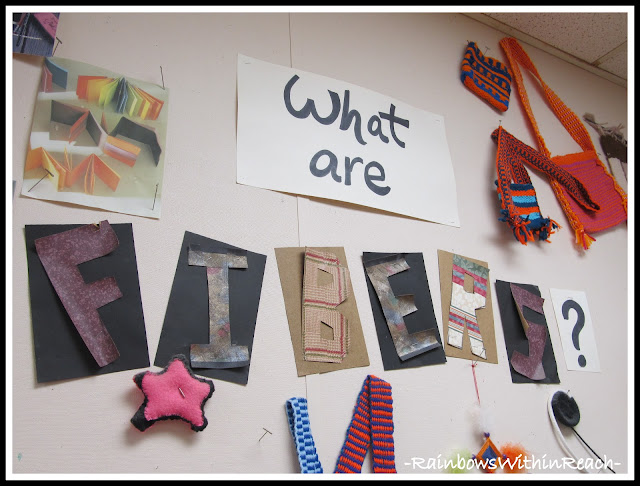 photo of: What are Fibers Bulletin Board in the Art Room (from Art Room RoundUP via RainbowsWithinReach)