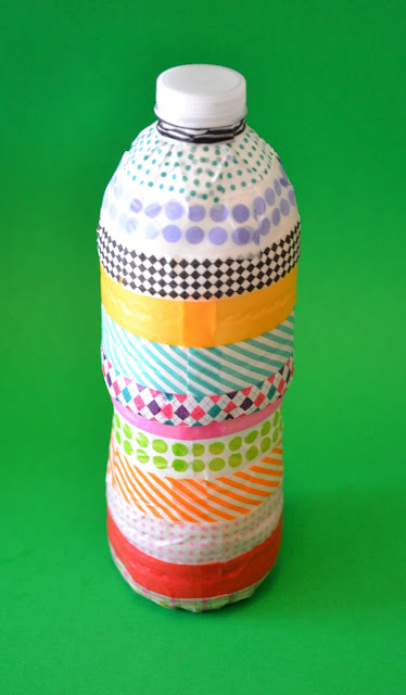 washi tape, water bottle, rain stick