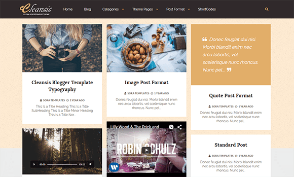 Cleansis Grid - Responsive Blogger Template