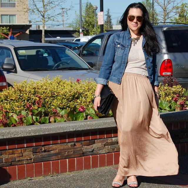 Zara maxi skirt, J.Crew denim jacket, linen tank top, aviator sunglasses and Loeffler Randall Rider bag