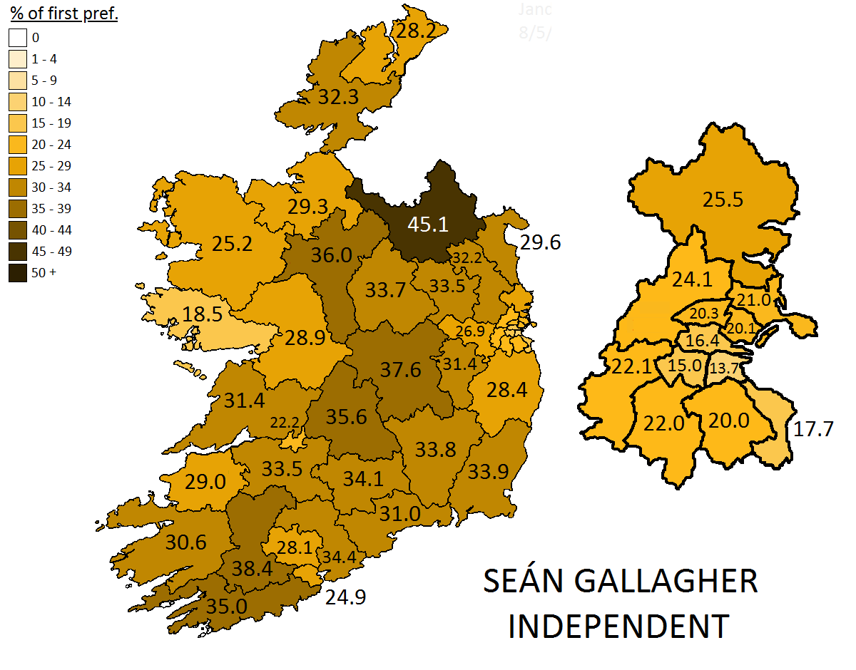 2011 presidential election sean gallagher s first preference votes