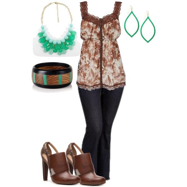 Colorful green beads necklace, bracelet, gown, black jeans, brown high heel shoes and ear rings