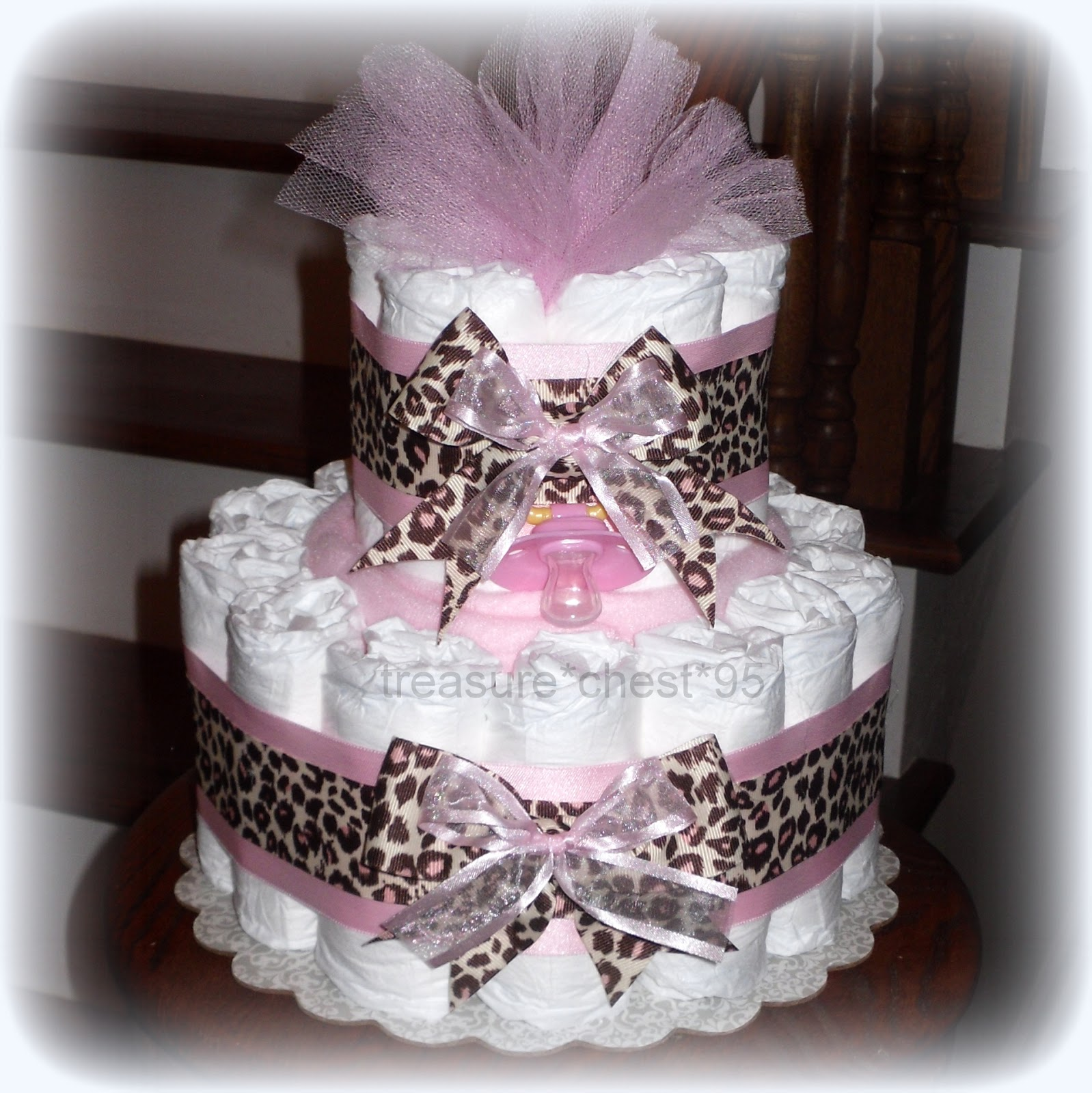 Diaper Cake Centerpiece For Baby Shower : Pink Brown Diaper Cake Baby Shower Centerpiece Girl Animal ...