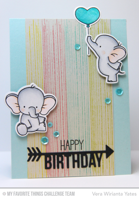 Sweet Elephant Birthday Card by Vera Wirianta Yates featuring the Birdie Brown Adorable Elephants stamp set and Die-namics, the Distressed Patterns stamp set, and the Arrow Greetings Die-namics #mftstamps