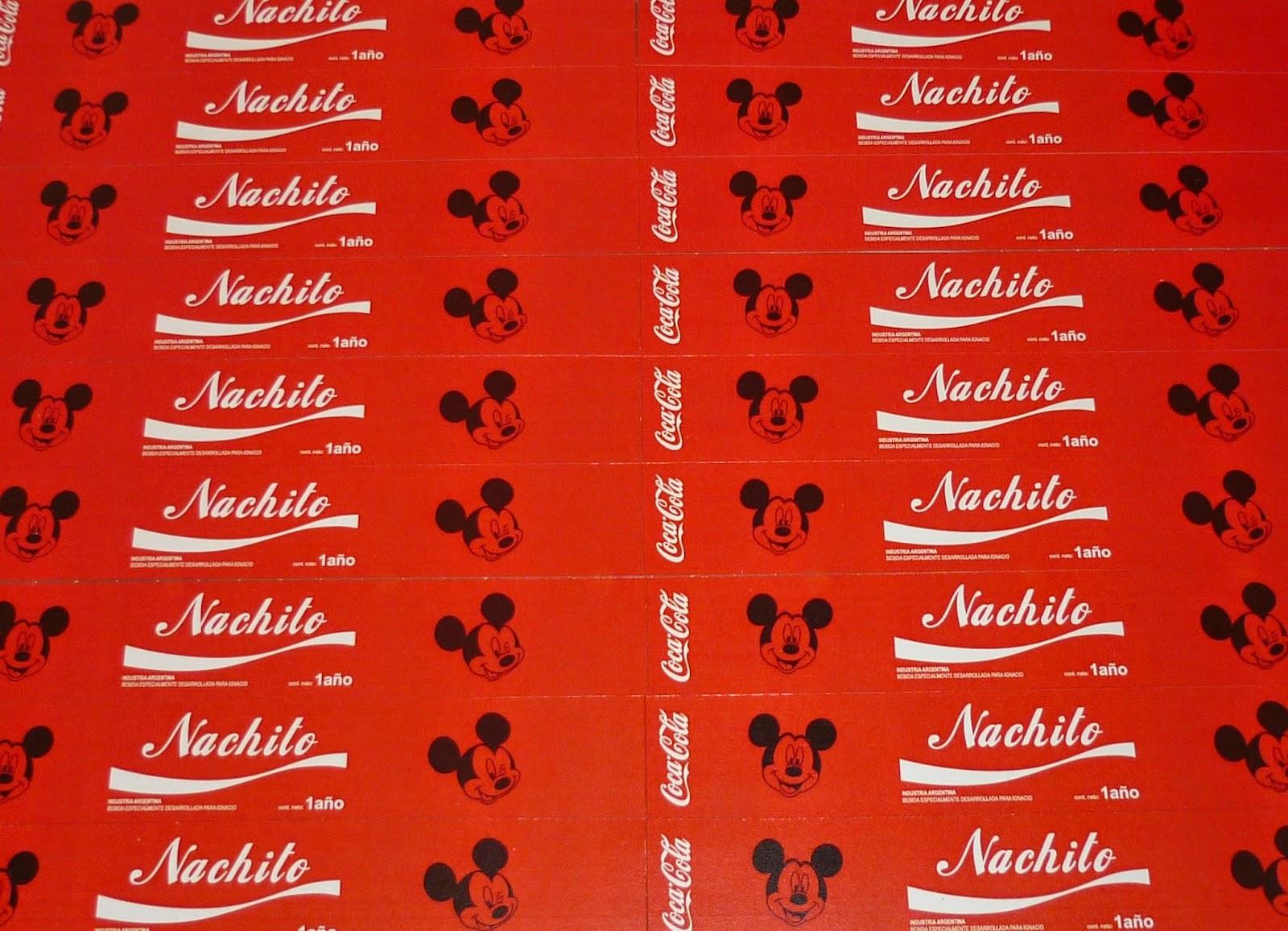 Minimandy. Golosinas Personalizadas. Candy Bar. Mickey y Minnie Mouse. Coca Cola.