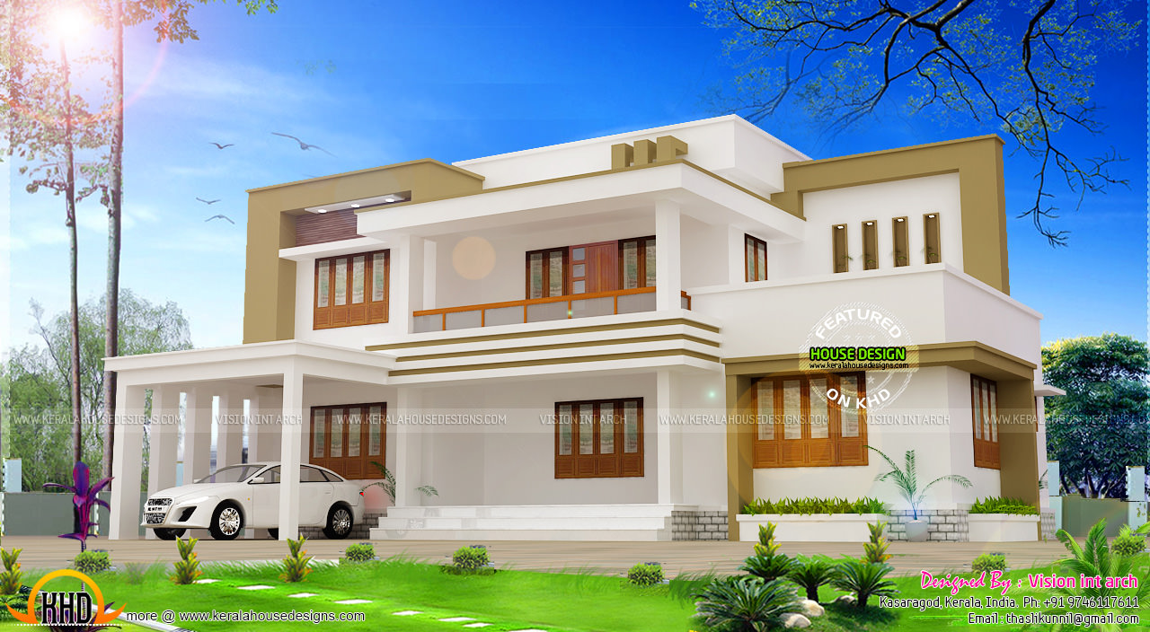 Modern flat roof house plan by vision int arch kerala for Flat roof elevation