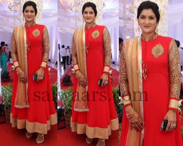 High Neck Red Shimmer Salwar