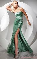 Дълга рокля без презрамки с дълбока цепка в тъмнозелено, дизайнер Tony Bowls
