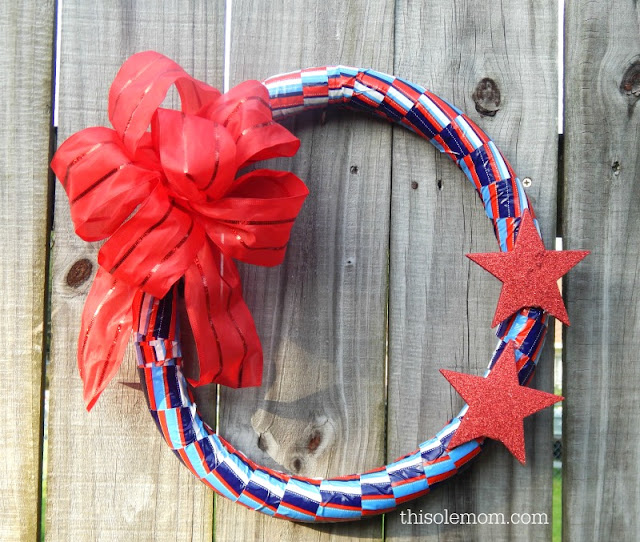 DIY Patriotic Wreath, Fourth of July Wreath, Diy Fourth of July Wreath , DIY 4th of July wreath Tutorial, How to use Pipe Insulation to make a Wreath Form , 4th of July Wreath