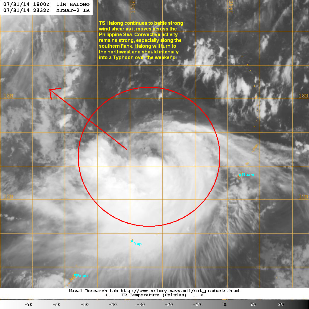 latest satellite image shows convection remains strong especially along the southern flank halong exhibited improvements last night with an expanding