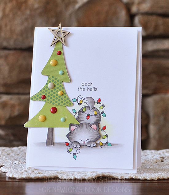 Deck the Halls cat in Christmas Lights | Card by Amy Sheffer | Newton's Holiday Mischief stamp set by Newton's Nook Designs