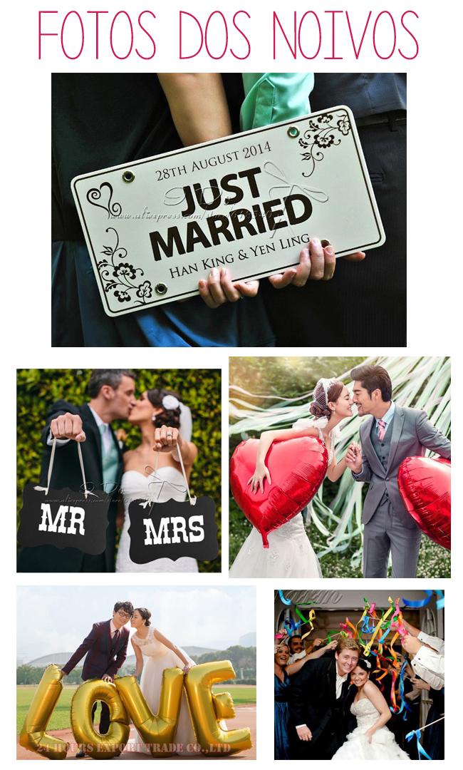 plaquinhas para fotos dos noivos, balões gigantes, balões de letras,