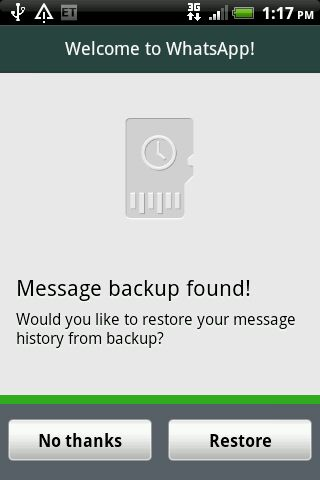 Message Backup Found