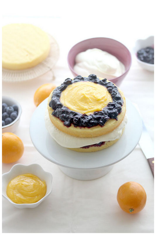 Foodagraphy. By Chelle.: Meyer Lemon Blueberry Cream Cake