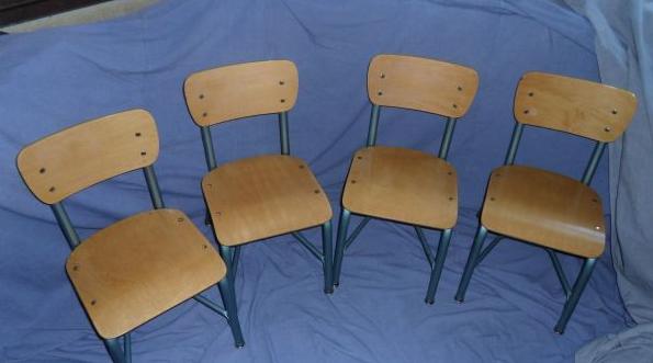 $60   Set (4) Vintage School Chairs