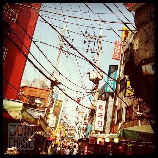 A colorful street in Seoul, South Korea.