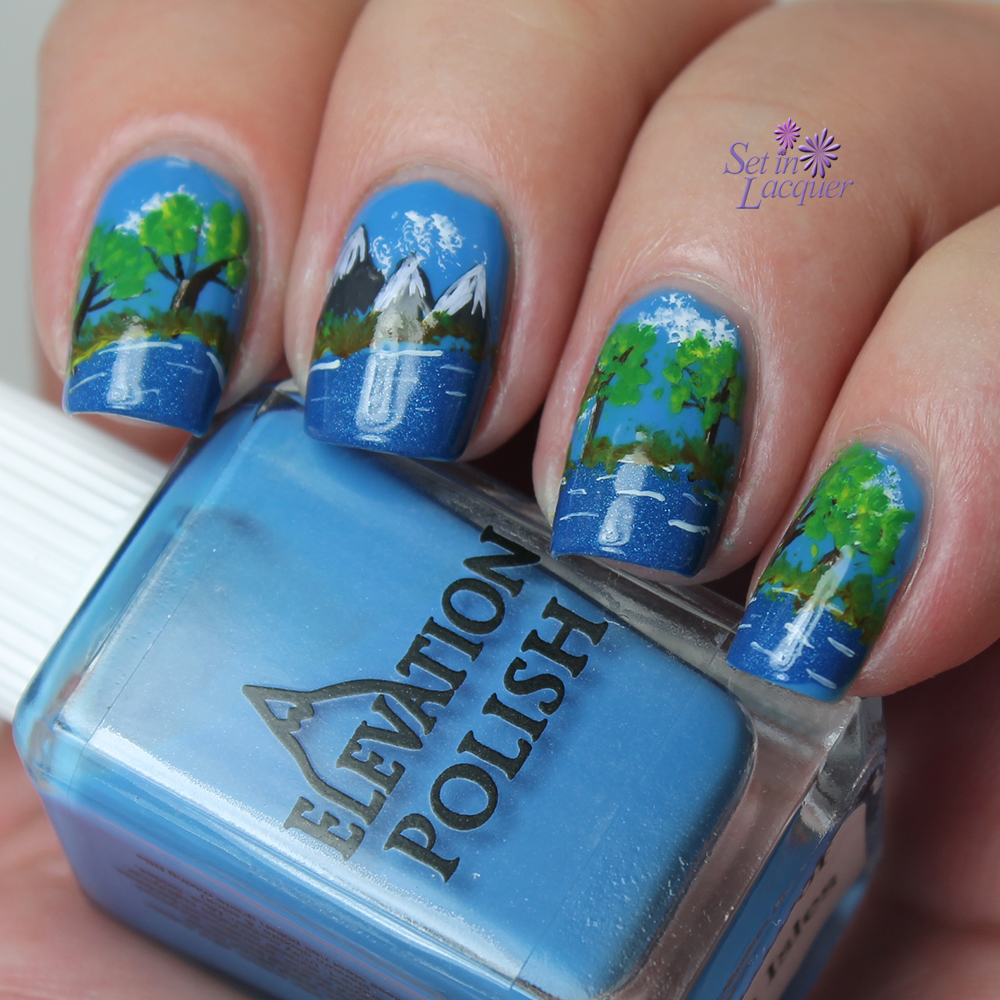 Landscape mountain scene nail art