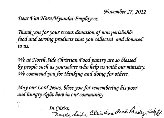 Van horn auto group blog a thank you letter from the north side our 2nd annual employee food drive where we were able to collect goods for the north side christian food pantry check out the thank you letter below expocarfo