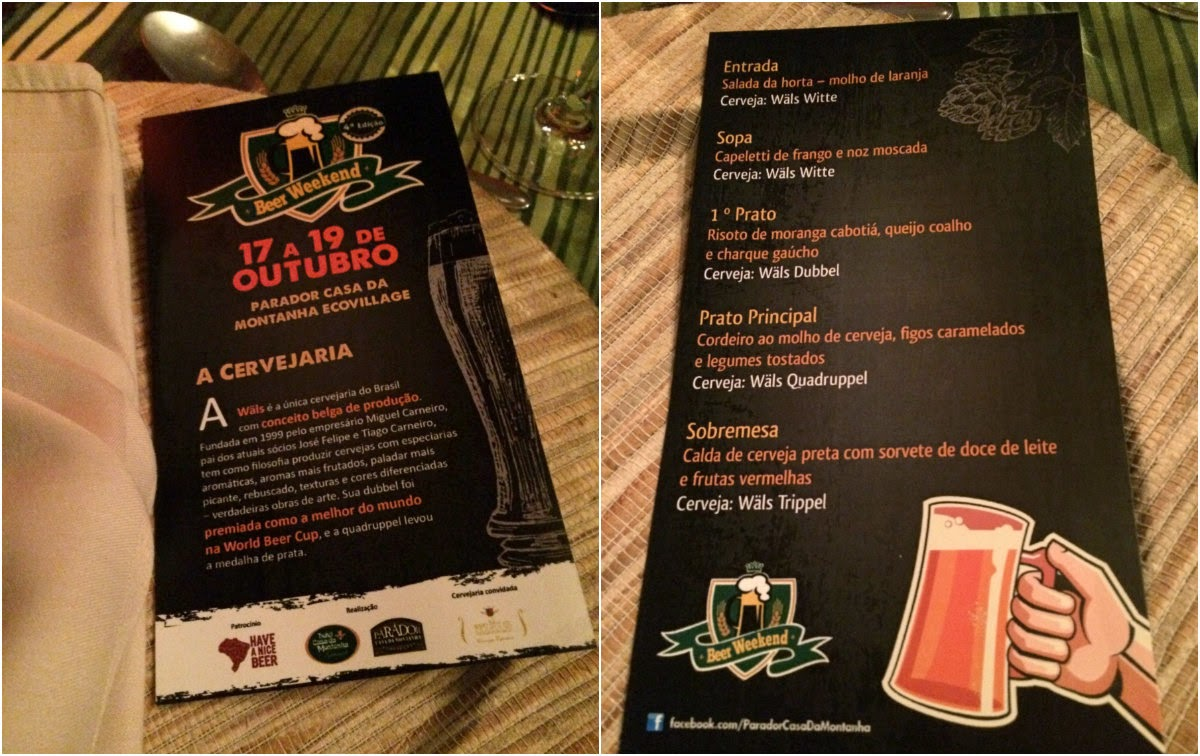 Cambará do Sul, Rio Grande do Sul, Parador Casa da Montanha, Casa da Montanha, Beer Weekend, menu