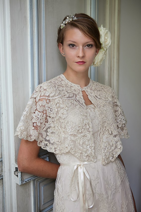 vintage lace wedding dress and cape by Heavenly Vintage Brides