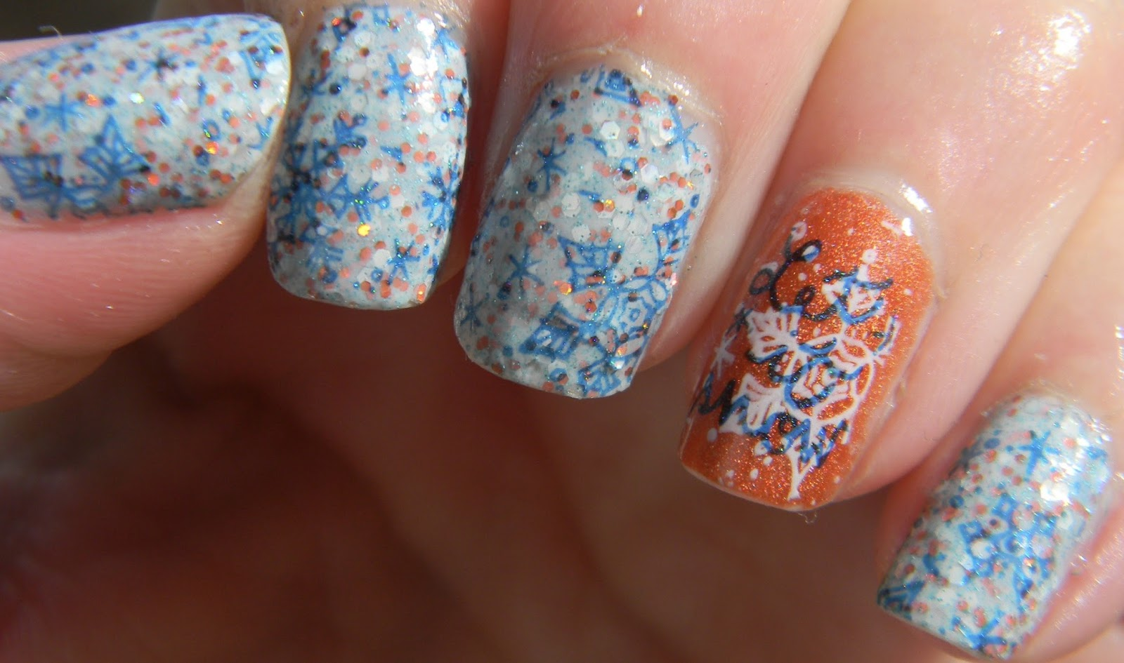 Polish Freshie~: Blue and Orange Snowflakes