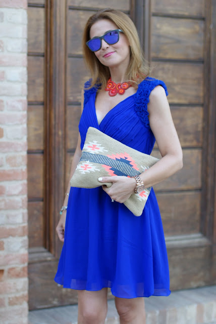Royal blue chiffon dress, aztec clutch, Oakley mirror sunglasses, elegant summer outfit, Fashion and Cookies