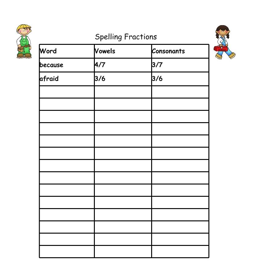 Create Spelling Worksheets : Second grade is groovy spelling fractions freebie