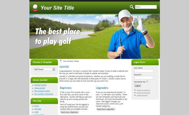 Free Green Gray Golf Club Joomla Template