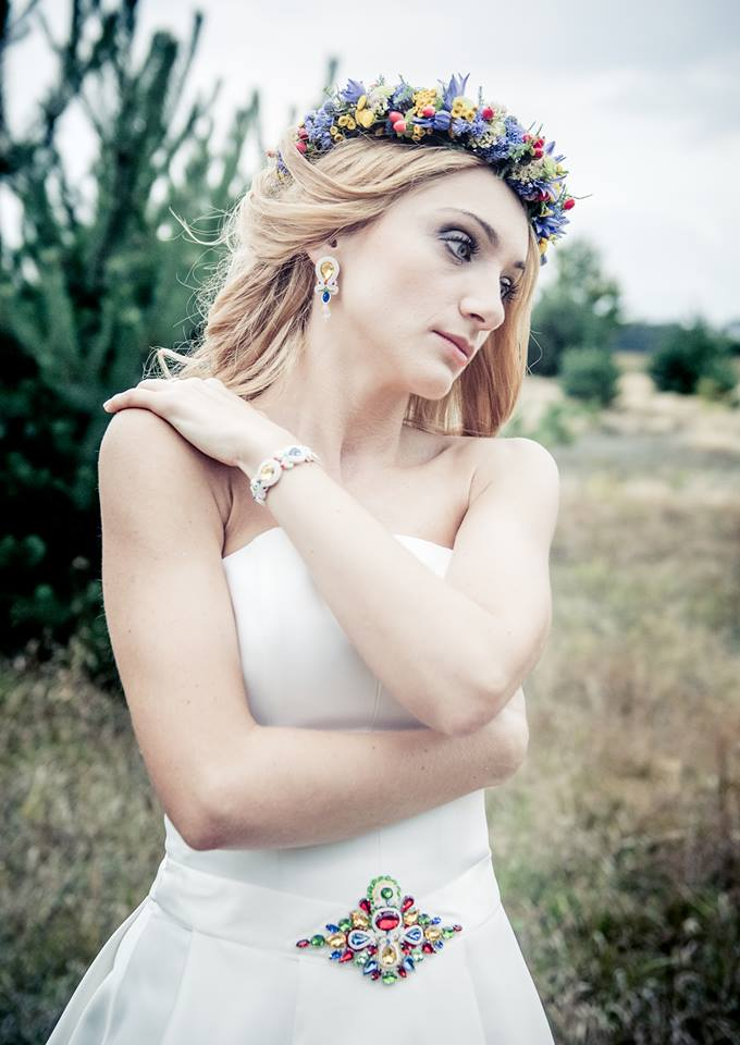 """Biżuteria ślubna w stylu folk - komplet ślubny sutasz """"Say YES"""""""
