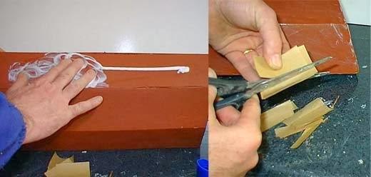 aplicación del demoldante al casco y cortado de tiras de papel a plicar