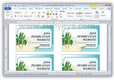 Gambar: Contoh kartu bisnis/kartu nama di microsoft word 2010