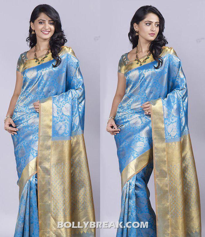 Anushka Shetty in blue saree - Anushka Shetty in Traditional Saree