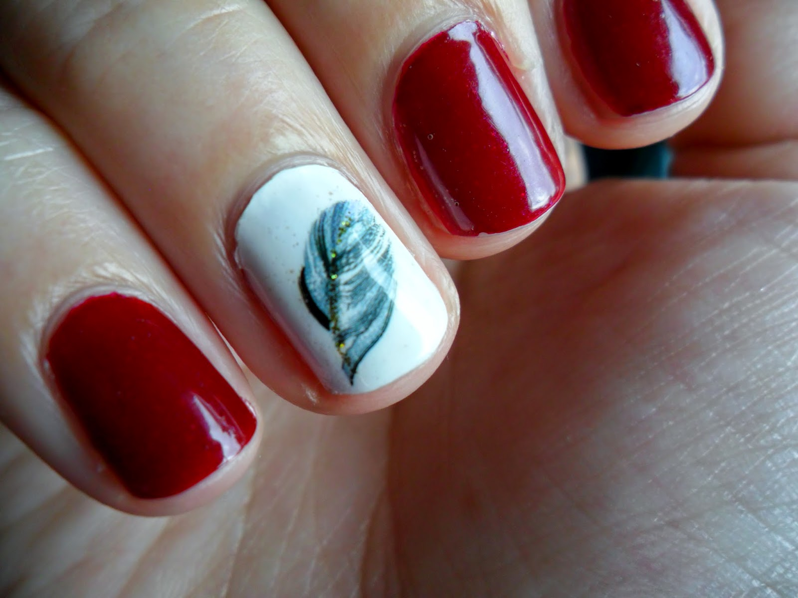 NOTD: Revlon Queen of Hearts with Born Pretty Store Feather Water Decals