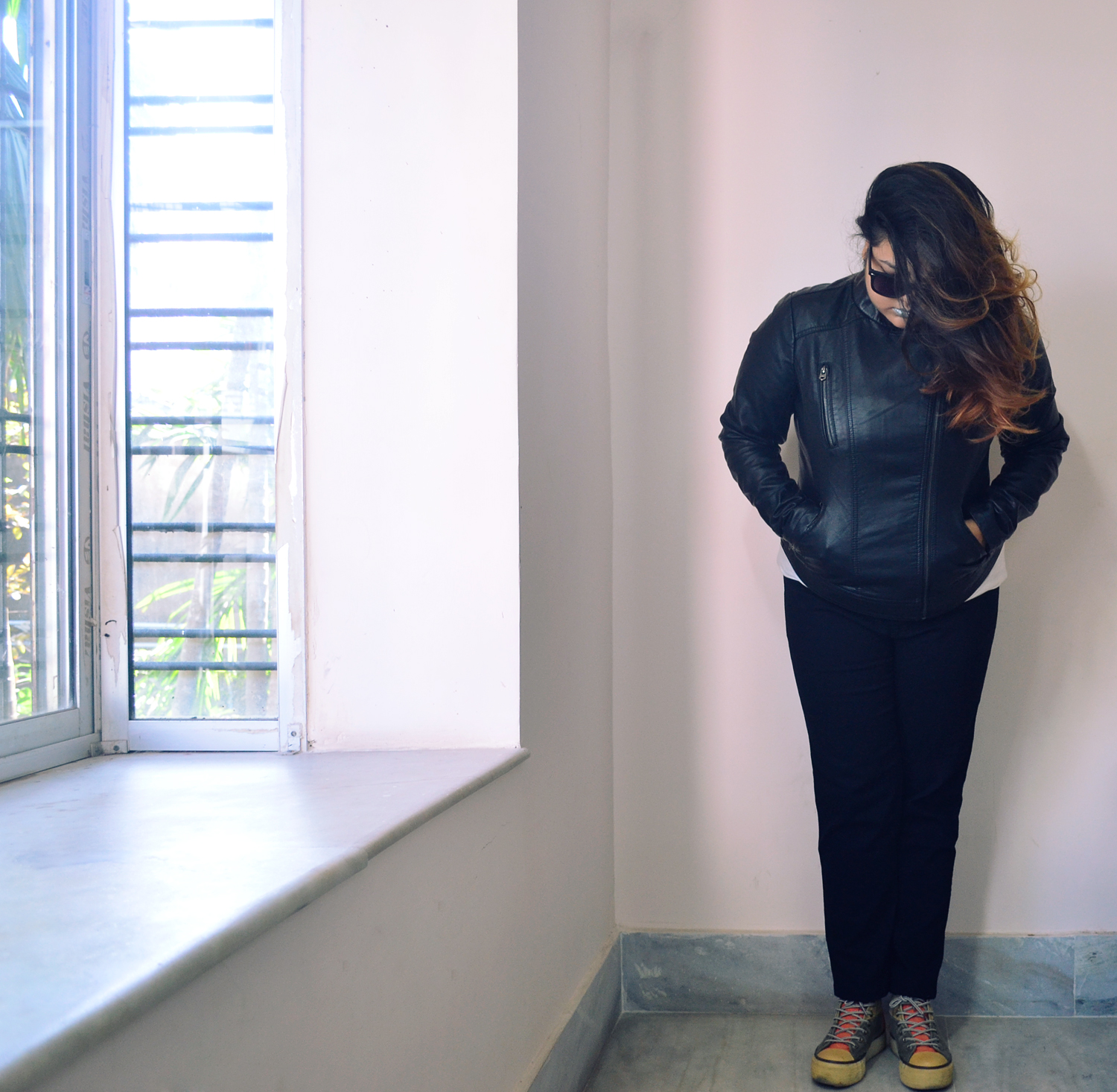 leather jacket and ombre hair
