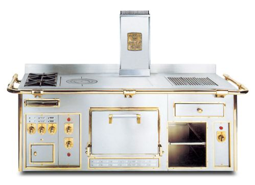 photo of electric kitchen range stove with gold trim