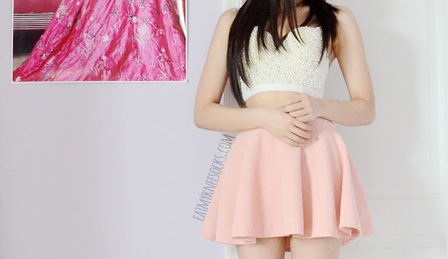 A cute summer OOTD, with a beaded bustier top from SheIn and a pastel pink skater circle skirt.