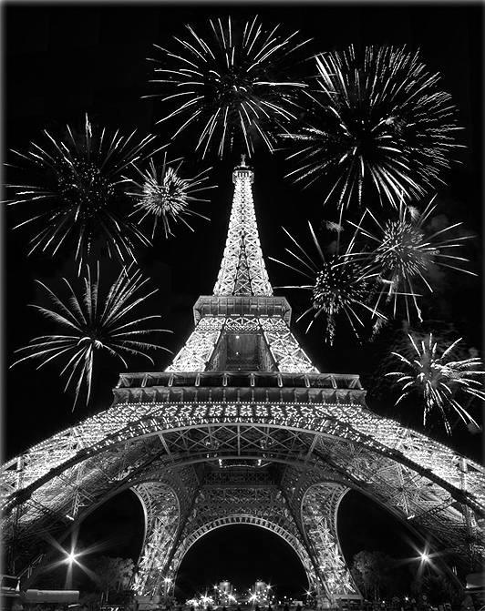 Fire works at Eiffel Tower black and white Photo