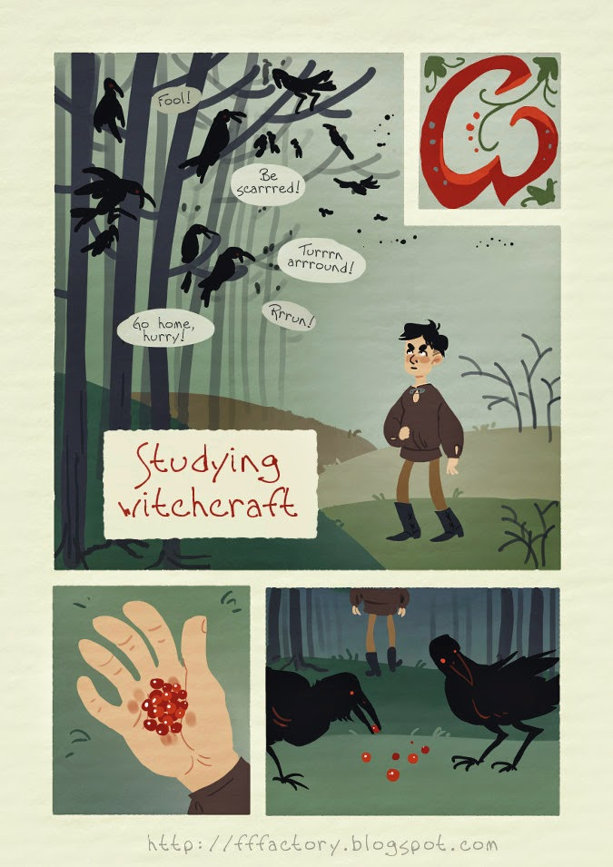 orginal cartoon adventure comic about warlock witchcraft ravens bear
