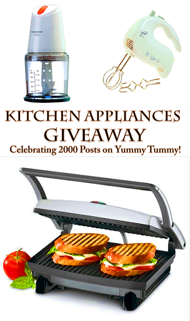 Kitchen Appliances Giveaway to Celebrate 2000 Posts on Yummy Tummy!