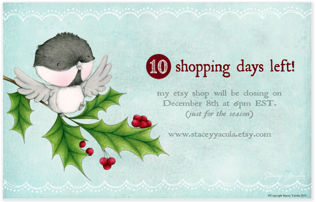 Christmas, shopping, chickadee, calendar, art prints, greeting cards, stacey yacula