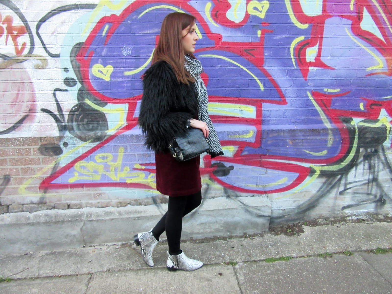 Saturday Strolls in East London // Street Style Fashion Blogger // Lauren Rose // Winter Outfit OOTD // Fur Jacket, Cord Pinafore Dress, Snakeskin Pointed Boots