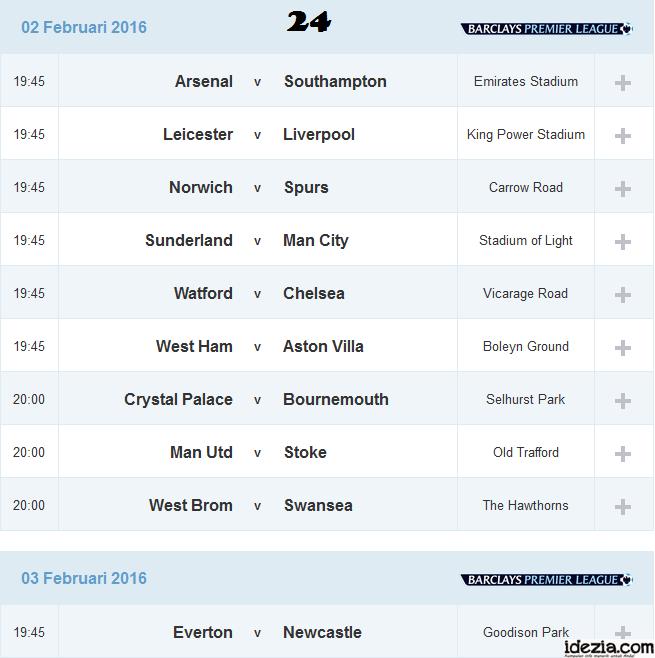 Jadwal Liga Inggris Pekan ke-24 02 03 Februari 2016