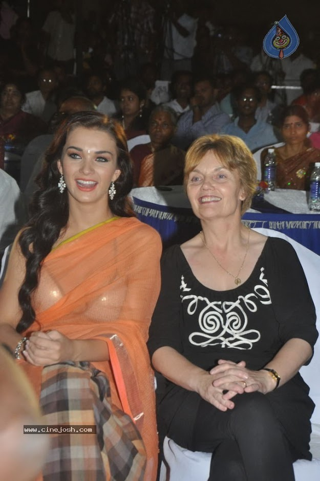 Amy Jackson in orange transparent saree - (3) -  Amy Jackson in Orange Transparent Saree at event