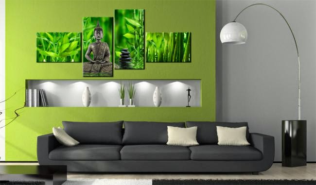 Zen Interior Design For A Living Room   Green Walls, A Floor Lamp And Buddha