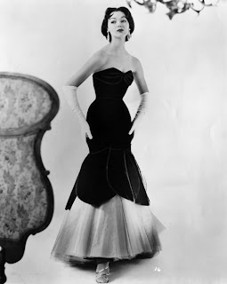 1950s strapless evening gown