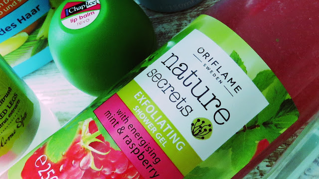 REVO lip balm watermelon, ORIFLAME exfoliating shower gel with mint and raspberry