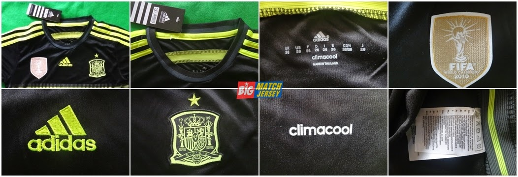 Detail Jersey Atau Baju Bola Anak - Anak Timnas Spanyol Away Warna Hitam Terbaru Piala Dunia 2014 Big Match Sport