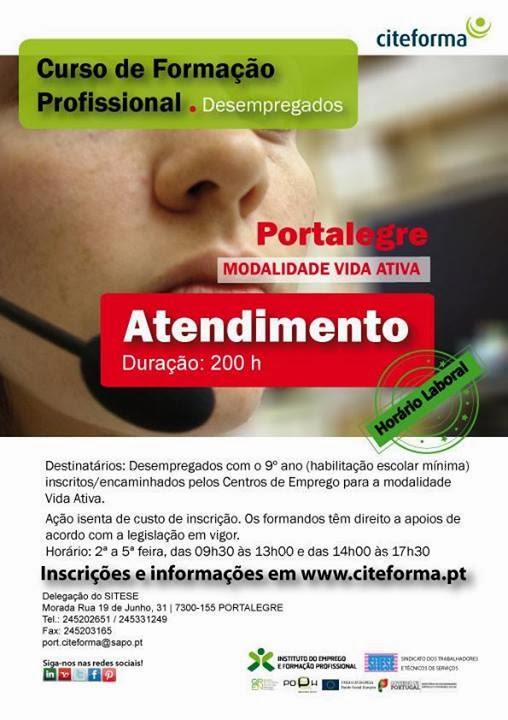 Curso de atendimento para desempregados/as (VIDA ATIVA) – Portalegre