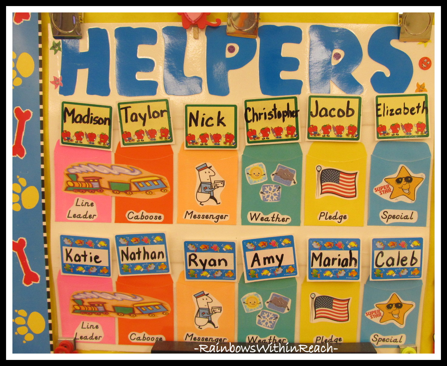 preschool helper chart Classroom helper bulletin board chart organize your classroom with a simple pocket classroom helper chart rotate children's names to give them special jobs and help them feel like a special part of the classroom.